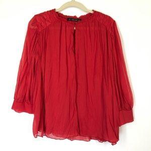 Zara Red Keyhole Neck  Sheer Blouse Blouse Sz Med
